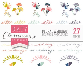 FLORAL WEDDING digital clip art pack. Printable wedding flower clip art, calligraphy, scrapbook illustrations - instant download.