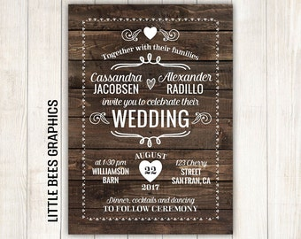 10 rustic wedding invitations with rsvp wood wedding invitation any color free customizations