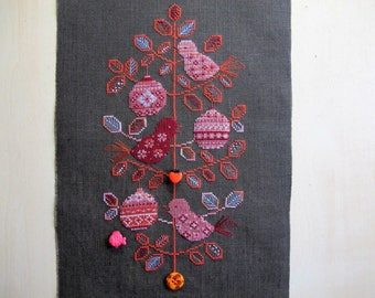 """""""Birds in my Christmas tree"""" embroidery"""