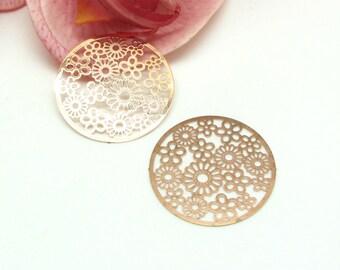 Gold Rose filigree 32 mm round Metal flower drops 2 prints - 32 mm