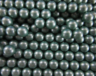 30 no hole   balls #16,  10mm balls in pearly grey green, vintage and priced to sell, craft supply, jewelry findings