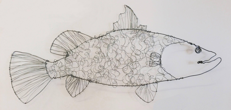 Draht-Fisch Skulptur große Barramundi Drahtkunst
