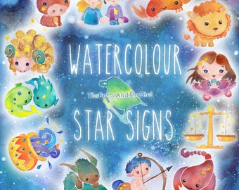 Zodiac Watercolor Star Signs Cliparts, Commercial Use (Aries Taurus Gemini Cancer Leo Virgo Libra Scorpio Sagittarius Capricorn Pisces)