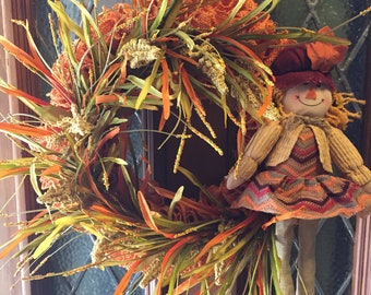 Fall Wreath-Autumn Wreath-Scarecrow Wreath-Thanksgiving Wreath-Burlap Wreath