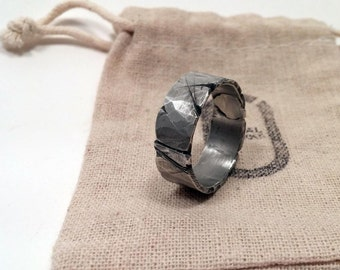 8-12mm Viking Wedding Ring / Men's Rugged Band / Silver Pewter Band / Guy's Fashion / Tree Bark / Rustic Jewelry / Unique Gift for Him