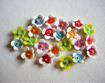 Glass Flower Cabochons-Various Colors