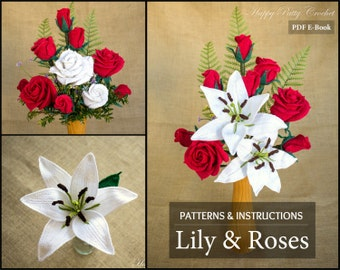 Crochet Patterns Bundle - Crochet Flower Pattern Bundle - Crochet Lily & Roses for Bouquets, Decoration, Hair and Brooches
