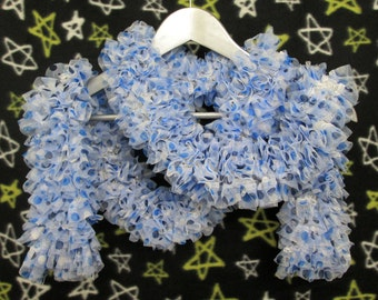 Lace Ruffle Scarf - Blue Polka-Dot