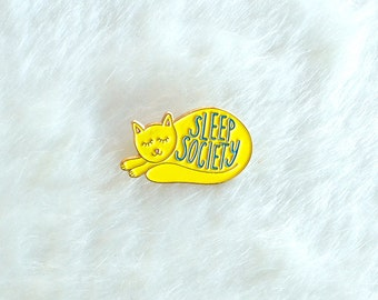 Cat Enamel Pin Lapel Pin Hand Lettering Gifts under 10 Sleeping cat