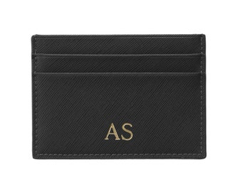 PERSONALISED MONOGRAMMED Genuine Saffiano Leather Wallet Card Holder Black