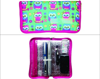 Insulated Insulin and Glucometer Case - Owls on Green