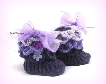Baby Booties,New Born Shoes,Purple,Lilac,Plum,Crochet Shoes,Crochet Booties,Baby Shoes,Baby Shower Gift,Gift for Baby, Christening,Crochet