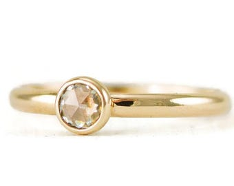 Rose Cut Moissanite Solitaire Engagement Ring - Solid 14k Gold or Gold and Sterling - Yellow or Rose Gold