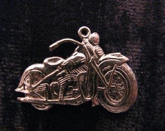 6 Pcs Vintage Motorcycle Charms  Chrome Plated Brass 1 1/8 Inches x 3/4 Inches Motorbike Findings Stampings Biker Jewelry Supplies