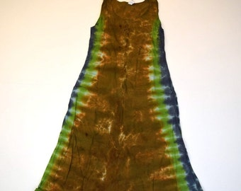 Camouflage and Bronze Tie Dye MidCalf Tank Dress (Dharma Trading Co. Size M) (One of a Kind)