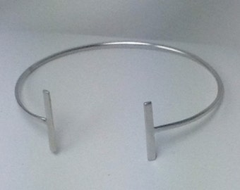 Sterling silver thin open cuff