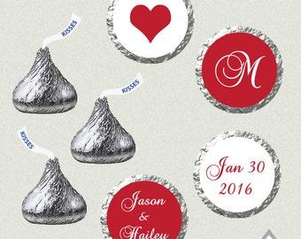 Printable Hershey Kiss Labels, Wedding Kiss Stickers, Red Wedding Kisses, Monogram Kisses, Wedding Kiss Favor, Hershey Kiss Stickers