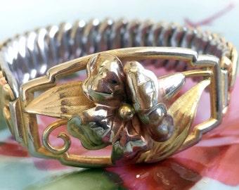 Vintage  12K Gold Filled Floral Flower Expansion Stretch Bracelet Yellow and Rose Gold