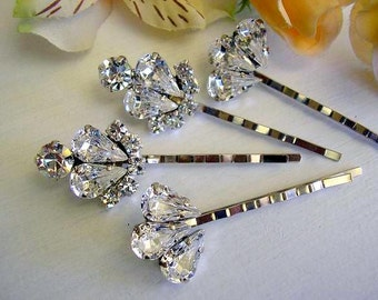 BRIDAL jewelry - hairpins, vintage style, wedding hair jewelry, bridal ACCESSORIES Rhinestone set of 4,