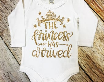 The Princess Has Arrived Ruffle Long or Short Sleeve Onesie