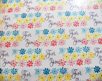Vintage Gift Wrap, Vintage Daisy Wrapping Paper, All Occasion Gift Wrap, Scrapbook Craft Paper, 60s Vintage Gift Wrap, Two Sheets, Retro