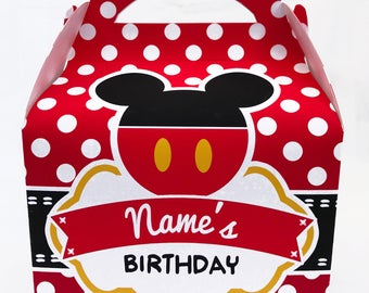 Mickey Mouse Personalised Children's Party Box Gift Bag Favour