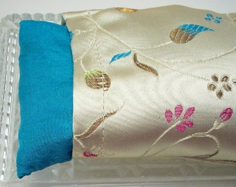 Eye Pillow - Flax Seed with Lavender or Unscented - Gold Asian Style Brocade Yoga Cold Pack