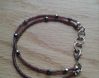 Purple sparkly beaded bracelet