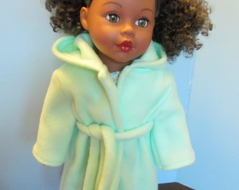 Soft Minty Fleece Bathrobe , fits 18'' dolls such as American Girl . Our Generation and Others, Snuggly Mint Green Fleece Bathrobe for Dolls