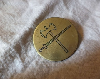 Crossed sword and axe Etched Brass Pin