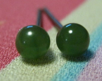 Niobium Nickel Free Earrings / Allergy Free Earrings for Metal Allergies - Nephrite Jade Gemstone - Nephrite Jade Studs
