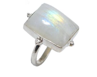 Rainbow moon 92.5 sterling silver ring size 5 us