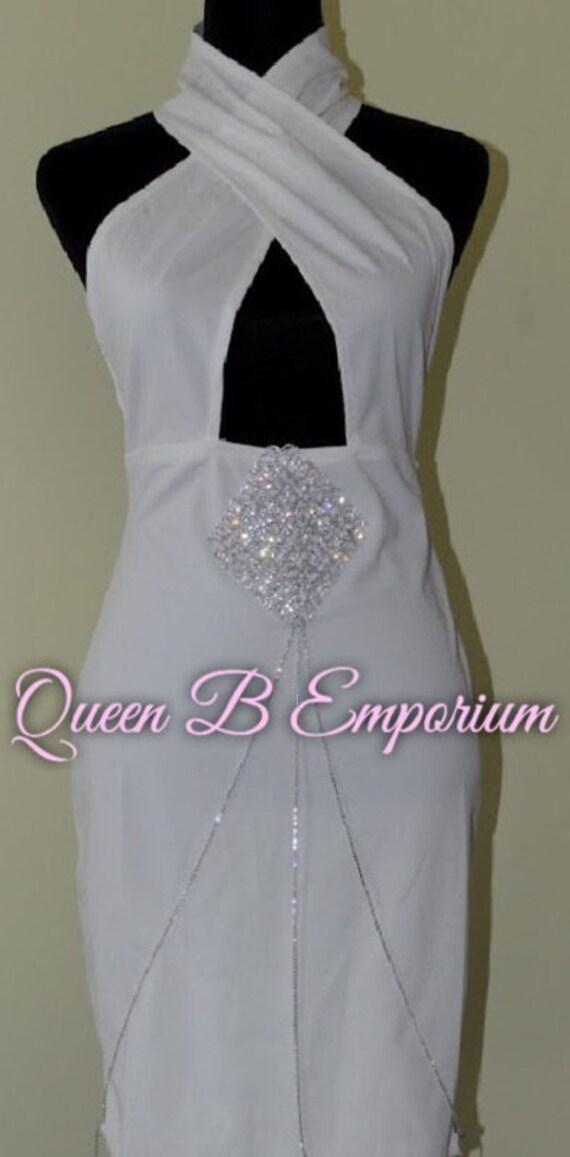 Classy Silver Halter Neck V-Neck Stretch Crystal Rhinestone Diamond Midi Clubwear Cocktail Dress M Queen B Emporium