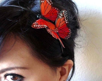 orange butterfly headband - butterfly hair piece -  women's hair accessory - bohemian hair accessory - MEGAN
