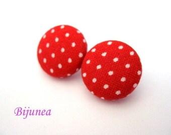 Red Polka dot earrings- Red polka dot stud earrings - Red polka dot posts - Polka dot studs - Polka dot post earrings sf165