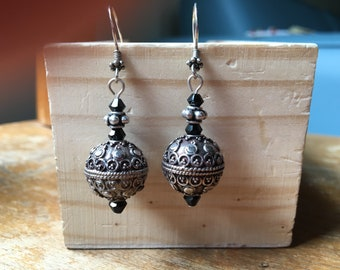 Sterling silver bead earrings with black Austrian crystals