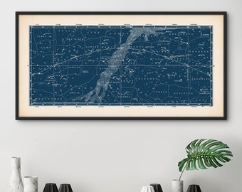 Star Map, Star Map Print, Constellations Chart Print, Constellation Poster, Bedroom Wall Art, Constellations Art, Astrology, Nursery Decor