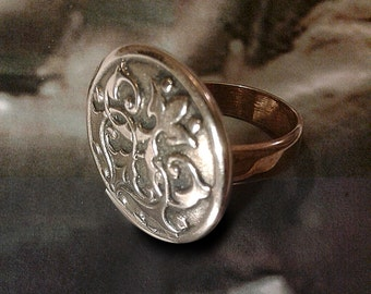 Chivalry - Bronze handmade ring - arms - medieval