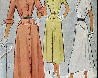 Vintage 50s Classic Button Front Wing Collar Turnback Cuff Day Dress Sewing Pattern McCall 7702 B