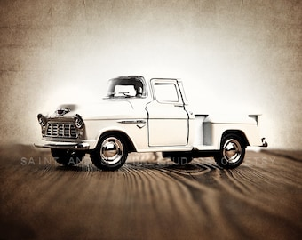Vintage White 55 Chevy Truck Photo Print, Rustic Decor, Boys Nursery decor, old truck prints