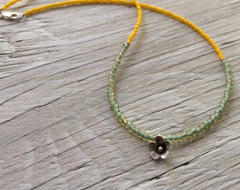Silver Flower Necklace, hill tribe silver beaded necklace with green and yellow beads