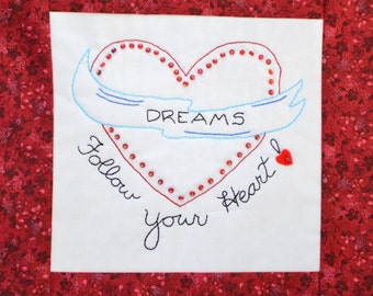 "PDF Stitchery Pattern ""Dreams-Follow Your Heart"" Beaded Embroidery"