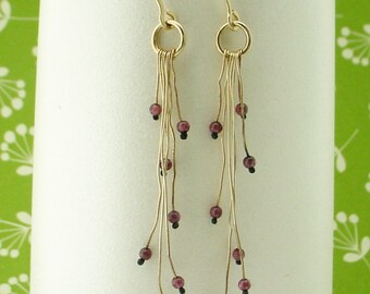 Garnet on Gold Organic Earrings