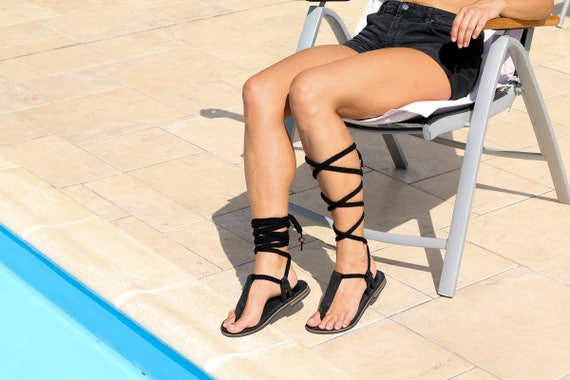 black style lace in up smooth Unique sandals summer qF1npxwqzf