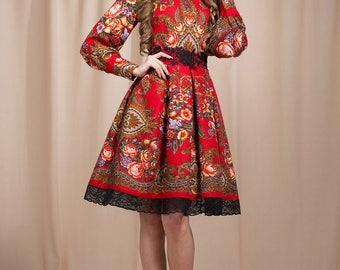 Red Boho dress, Floral summer dress, floral gypsy Dress, bohemian dress, boho chic, boho dress, summer dress midi, boho dress, prom dress