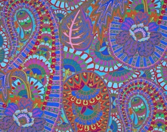 BELLE EPOCH in BLUE by Kaffe Fassett Fabric PWGP133 Westminster Fabric / 1 yard Cotton, Quilt Craft and Apparrell fabric