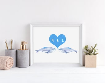 Whale Print - Whale gifts Bathroom Decor, Wedding Gift,housewarming Gift, 8 x 10 print, Whale Couples Gifts, Whale Wall Decor,Housewarming