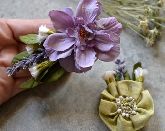 Set of 2 Lavender and Sage Floral Hair Ornaments