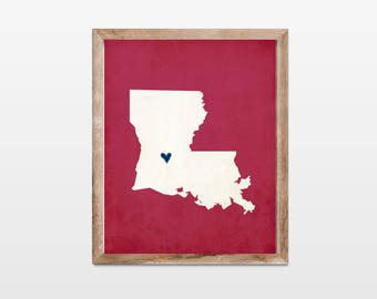 Louisiana Silhouette Personalized Map Art 8x10 Print. Map Silhouette Art. Louisiana State Map Gift. Pick Your Colors and Heart Placement.