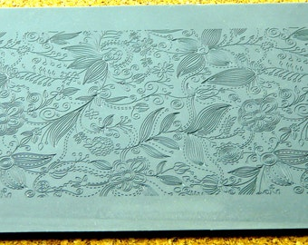 FLOWER QUILT Fineline Continuous Rolling  Zentangle Looking Clay Texture Rubber Stamp  RTT-